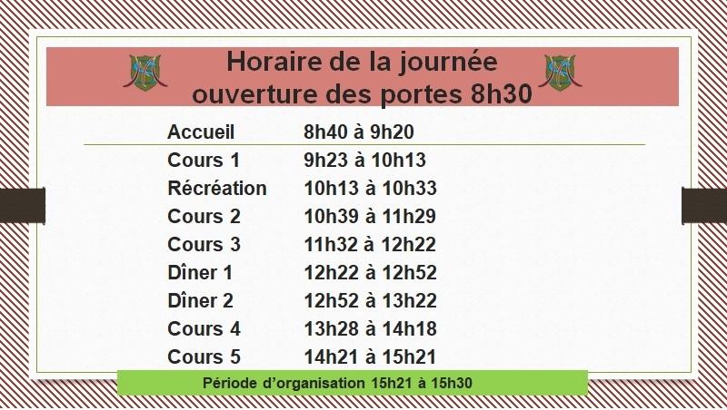Calendrier Mascaret 2021 Horaire de la journée   École Le Mascaret